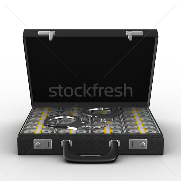 Stock photo: Criminal money in suitcase. Isolated 3D image