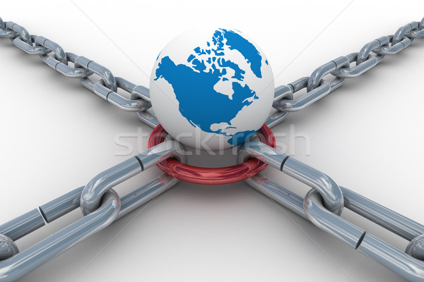 Chain fastened by red ring. Isolated 3D image Stock photo © ISerg
