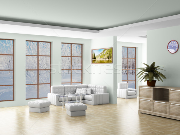 Belső nappali 3D kép tájkép fény Stock fotó © ISerg