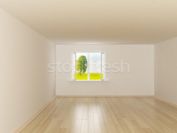 üres szoba tájkép mögött nyitva ablak 3D Stock fotó © ISerg