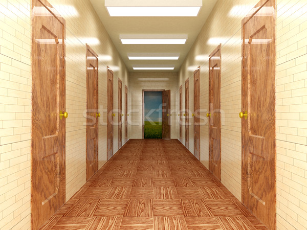 Gang verscheidene deuren 3d afbeelding hemel stockfoto ilin sergey iserg - Kleur corridor ...