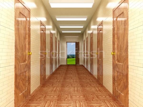 коридор несколько дверей 3D изображение небе Сток-фото © ISerg