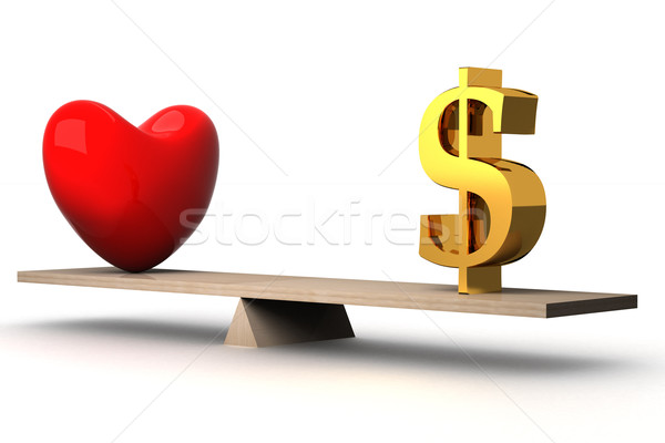 choice concept between love and money. 3D image. Stock photo © ISerg