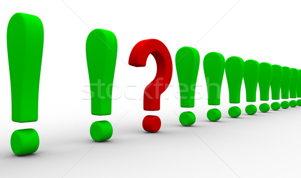 Question among exclamation marks. Isolated 3D image Stock photo © ISerg