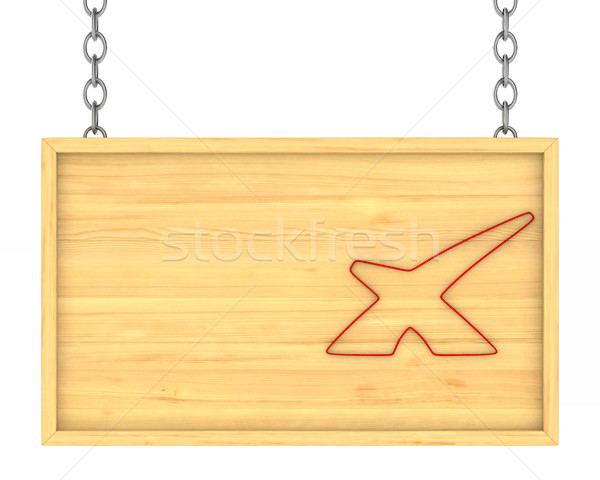 wooden signboard on the chains. Isolated 3D illustration Stock photo © ISerg