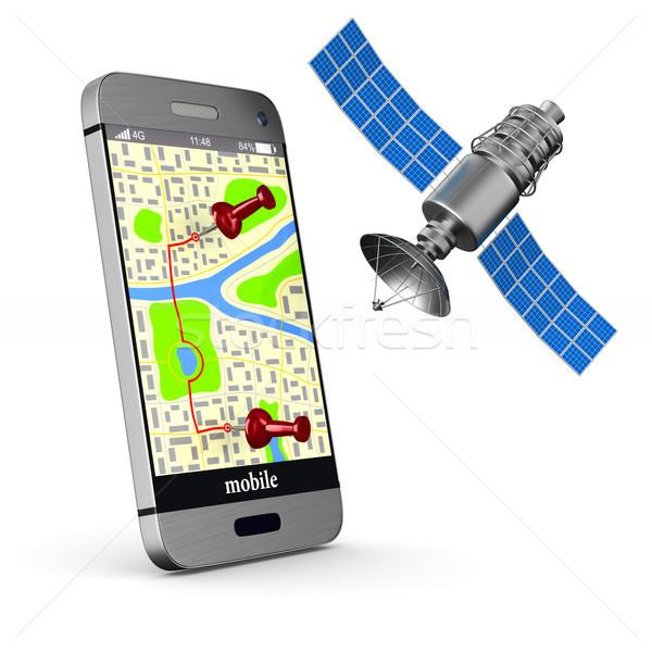 Navigatie telefoon geïsoleerd 3d illustration kaart technologie Stockfoto © ISerg