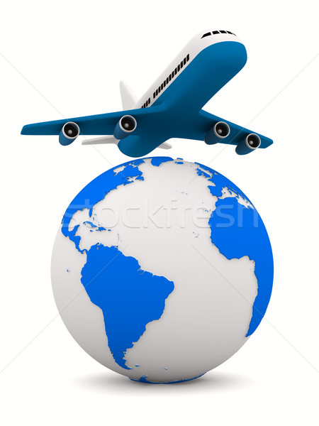 airplane and globe on white background. Isolated 3D image Stock photo © ISerg
