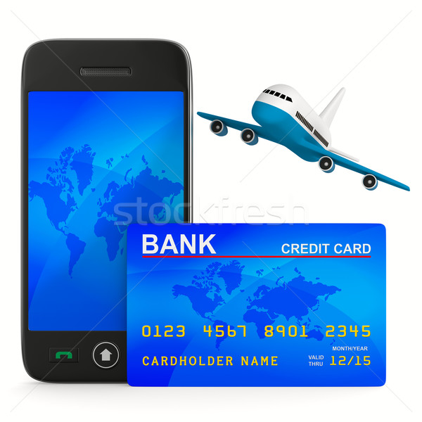 phone and credit card and airplane. Isolated 3D image Stock photo © ISerg