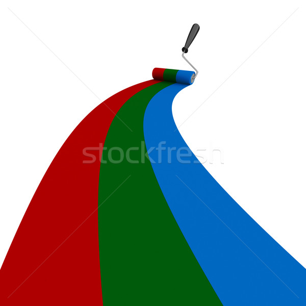 RGB drawn roller brush on the white. Isolated 3D image Stock photo © ISerg