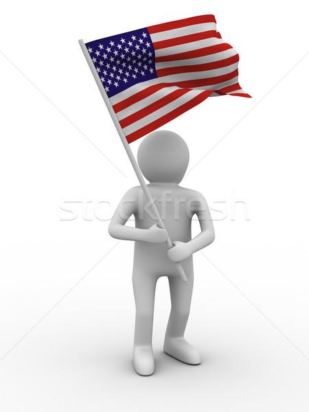 man waves flag on white background. Isolated 3D image Stock photo © ISerg