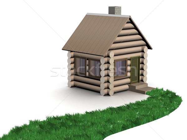 Herbeux chemin bois faible maison 3D Photo stock © ISerg