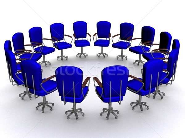 Office sixteen armchairs standing around. 3D image. Stock photo © ISerg