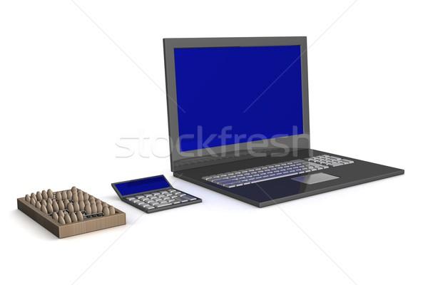 Foto stock: ábaco · calculadora · portátil · desarrollo · 3D