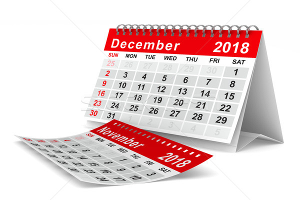 2018 year calendar. December. Isolated 3D illustration Stock photo © ISerg