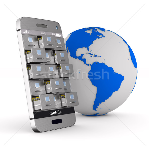 phone with filing cabinet and globe on white background. Isolate Stock photo © ISerg