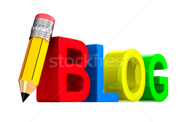 blog and pencil on white background. Isolated 3D illustration Stock photo © ISerg