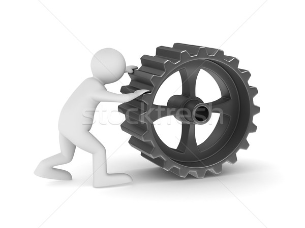 Man with gear on white background. Isolated 3D image Stock photo © ISerg