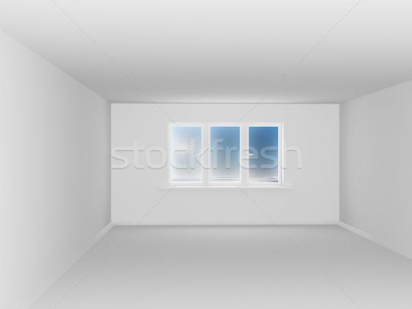 Stok fotoğraf: Boş · beyaz · oda · pencere · 3D · görüntü