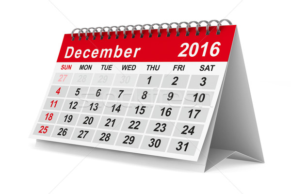 2016 year calendar. December. Isolated 3D image Stock photo © ISerg