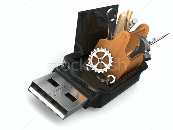 Resgatar usb flash drive branco isolado 3D Foto stock © ISerg