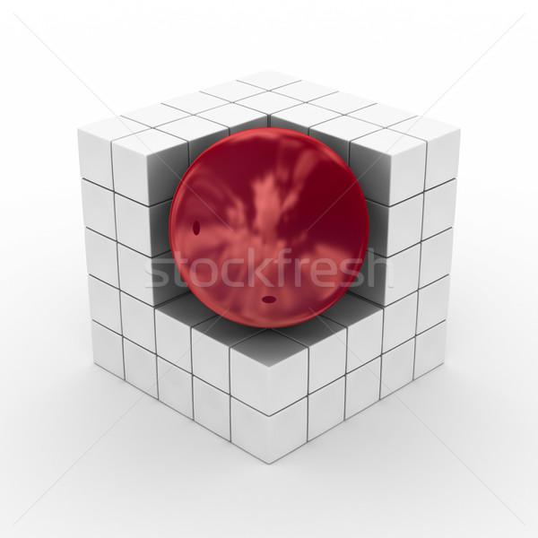 Kocka gömb fehér 3D kép üzlet Stock fotó © ISerg