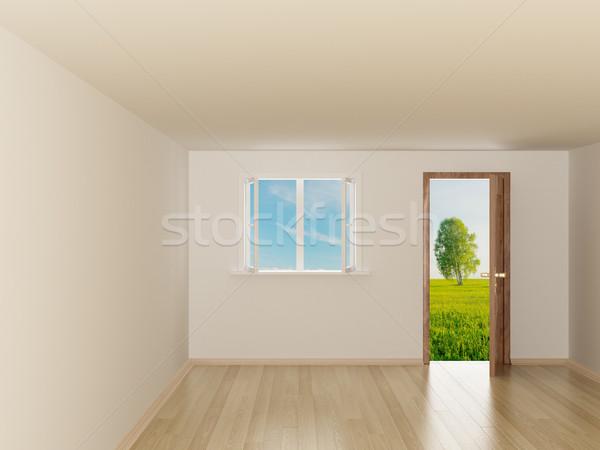 Foto stock: Habitación · vacía · paisaje · detrás · puerta · abierta · 3D · imagen