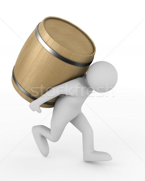 man bears barrel on white background. Isolated 3D illustration Stock photo © ISerg