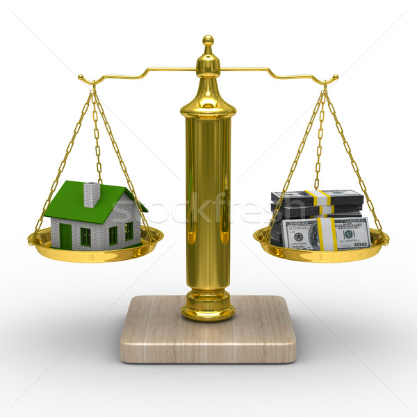 house and cashes on scales. Isolated 3D image Stock photo © ISerg