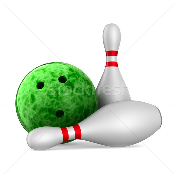 Bowlingkugel weiß isoliert 3D 3D-Darstellung Kunst Stock foto © ISerg