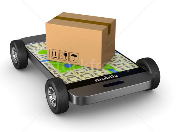 shipping cargo box with wheel and phone on white background. Iso Stock photo © ISerg