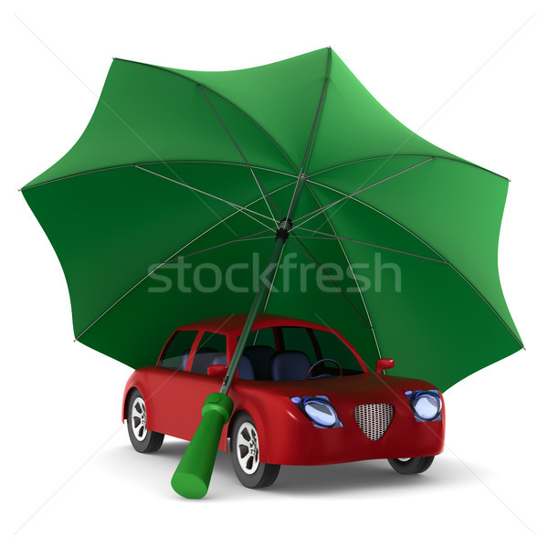 Red car and green umbrella on white background. Isolated 3D illu Stock photo © ISerg