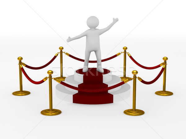 Stock photo: man into barrier rope on white background. Isolated 3D illustrat