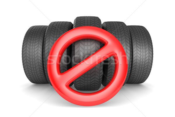 Assinar proibido pneu branco isolado 3D Foto stock © ISerg