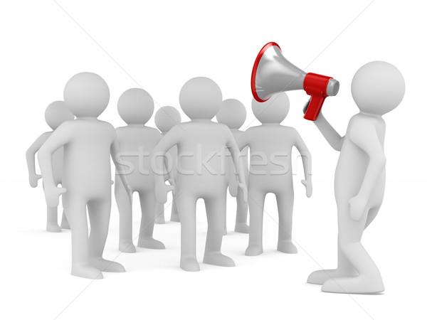 orator speaks in megaphone. Isolated 3D image Stock photo © ISerg