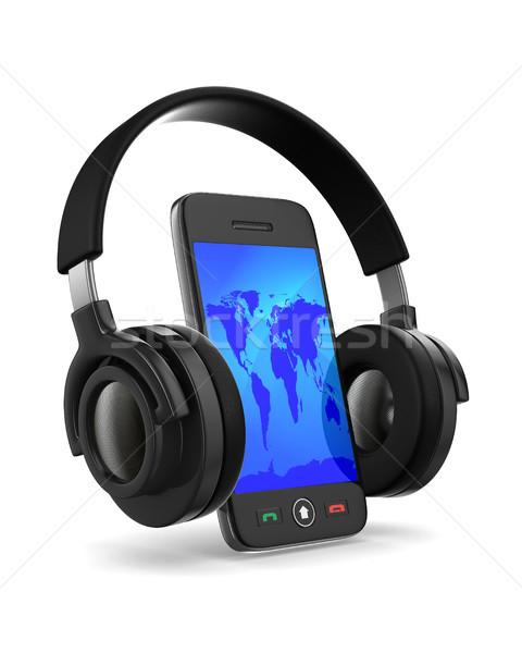 Stok fotoğraf: Telefon · kulaklık · beyaz · yalıtılmış · 3D · görüntü