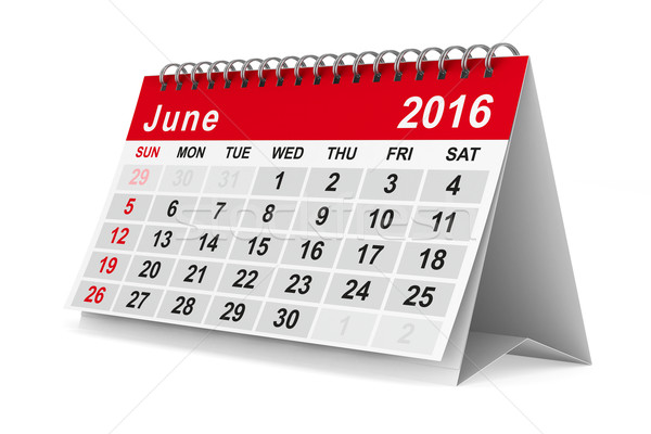 2016 year calendar. June. Isolated 3D image Stock photo © ISerg