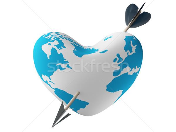 Heart pierced by an arrow. 3D image. Stock photo © ISerg