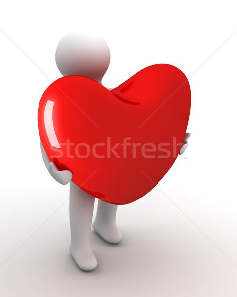 сердце подарок изолированный 3D изображение мужчин Сток-фото © ISerg
