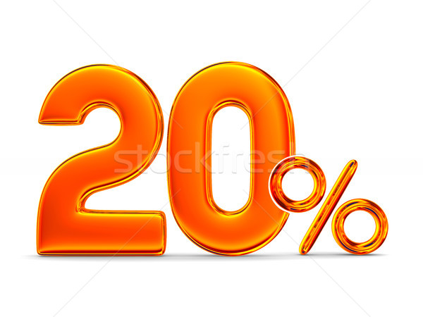 Stock photo: Twenty percent on white background. Isolated 3D illustration