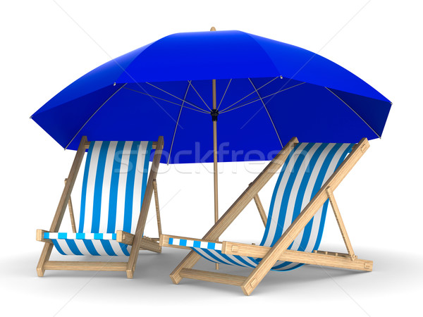 Two deckchair and parasol on white background. Isolated 3D image Stock photo © ISerg