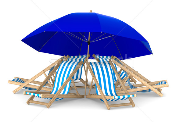 Six deckchair and parasol on white background. Isolated 3D image Stock photo © ISerg