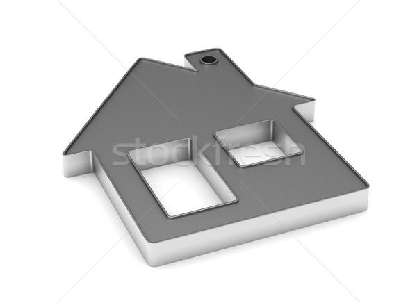 Foto d'archivio: Metallico · gingillo · casa · bianco · isolato · 3D