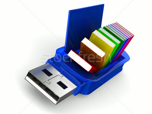 Usb flash drive boeken witte geïsoleerd 3D Stockfoto © ISerg