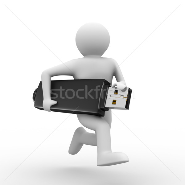 man hold usb flash. Isolated 3d image Stock photo © ISerg