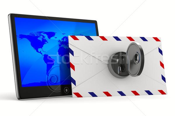 Tablet busta bianco isolato 3D immagine Foto d'archivio © ISerg