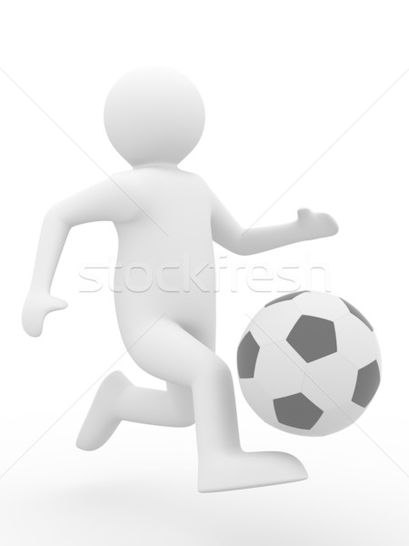 soccer player with ball on white background. Isolated 3D image Stock photo © ISerg
