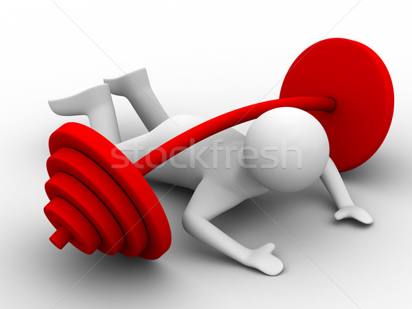 weight-lifter pressed down barbell. Isolated 3D image Stock photo © ISerg