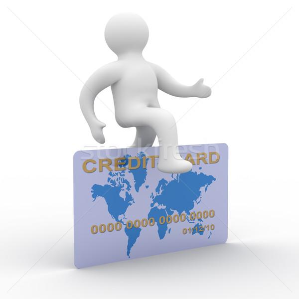 man jumping a credit card. 3D image Stock photo © ISerg