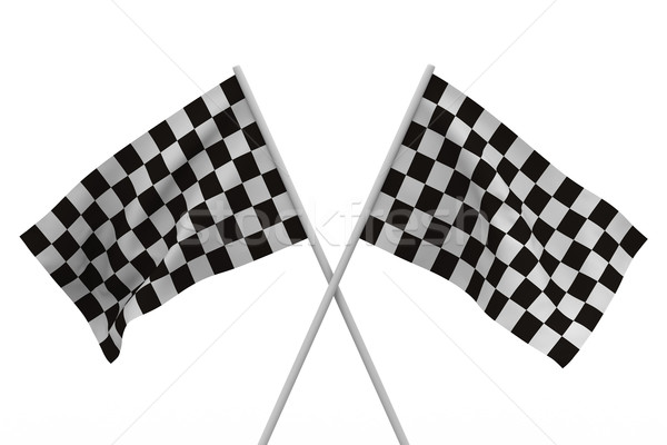 finishing checkered flag on white background. Isolated 3D image Stock photo © ISerg