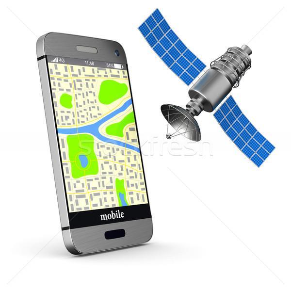 Foto stock: Navegação · telefone · isolado · ilustração · 3d · mapa · tecnologia